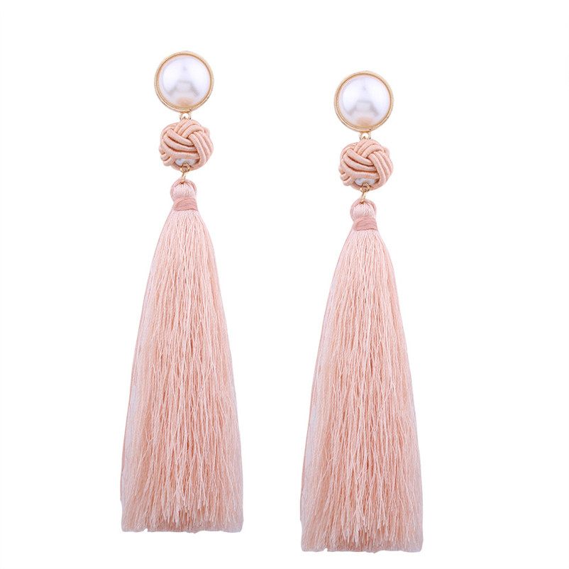 Trendry Earrings for Women Vintage Bohemian Fashion Weave Tassel Earrings Long Drop Earrings Jewelry for gift Brincos J05#N (14)