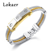Lokaer 316L Stainless Steel Men Bracelets Bangles With Cubic Zirconia Stones Yellow/White Gold Color Rope Chains Bangle Jewelry(China)