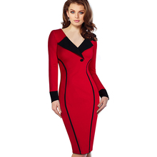 Professional Women Autumn Casual Work Business Office Colorblock Contrasting Long Sleeved Fitted Bodycon Pencil Dress EB355(China)