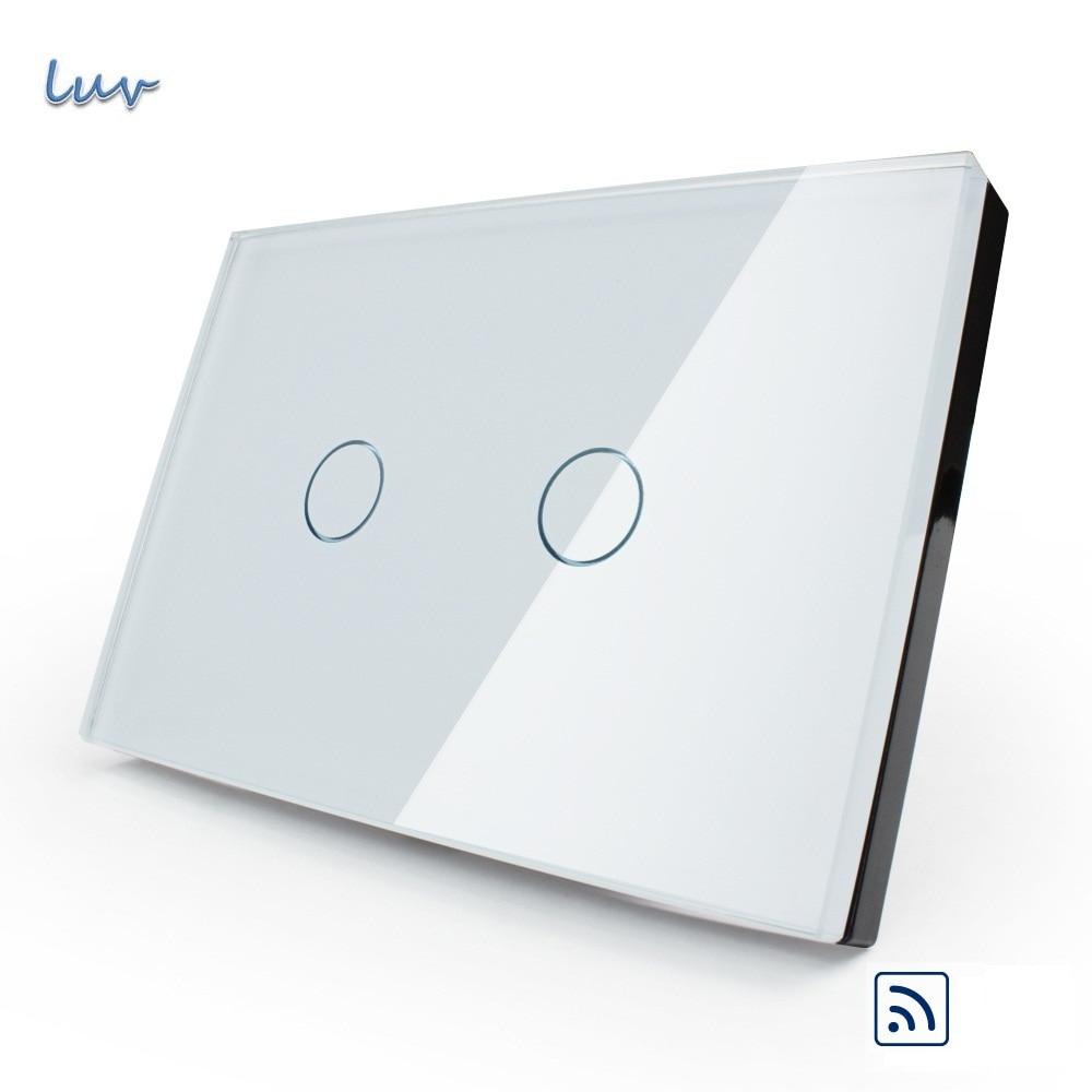 US/AU standard, White Crystal Glass Panel, Remote Switch AC 110~250V/50~60Hz Wireless Remote Home Light Switch VL-C302R-81<br>