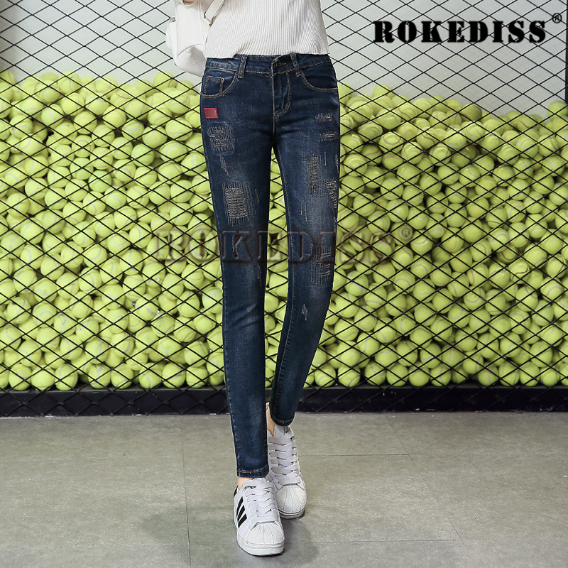 2017 New winter womens jeans Slim frayed pants feet brand new fashion woman pencil pants denim skinny sexy free shipping C067Одежда и ак�е��уары<br><br><br>Aliexpress