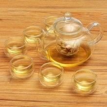 Heat-resistant 800ML Borosilicate Glass Tea Pot Set Infuser Teapot Warmer With Strainer Flowers 6 Double Wall Tea Cups