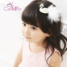 Artificial Elegant Girls White/Black Colors Princess Swan Feather Hair Clips Kids DIY Garments Hair Accessories(China)