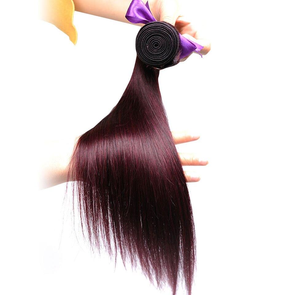 Pinshair Burgundy Straight Hair Bundles Deals Human Hair Weave 4 Bundles Non Remy Pre-colored Brazilian Hair Extensions No Smell (31)