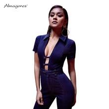 fdae9ba27122 Almagores women jumpsuit denim blue rompers overalls for womens sexy deep v  neck brand bandage jeans body feminino playsuit 2018