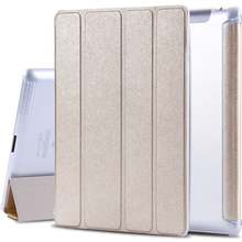 1pc case for ipad3 Slim PU Leather Four Folders Stand Smart Cover with Crystal Hard Back Case for ipad2/3/4(China)