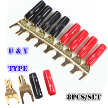 "8PCS "" Y "" Type Gold Plated Solderless Speaker Spade Banana Plug U Adapter Connectors High Quality for Electronic Equipment"