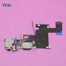 "Charging Charger Port USB Dock Connector Flex Cable For iPhone 6 4.7"" 6G with Headphone Jack Mic Flex Cable Ribbon, Dark grey"