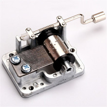 New Retro DIY Mechanical Hand Crank Metal Music Box Hand Cranked Musical Movement Parts