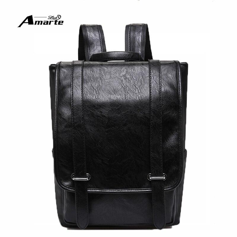 Amarte Brand Men Leather Backpack Preppy Style Male Backpacks For 14 Inch Laptop School Bag Travel Backpack Bags Mochila<br><br>Aliexpress