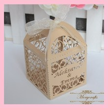 hot sale wonderful fancy design classical filigree carved pattern wedding decorations laser cut  favor box with free ribbons