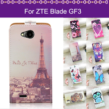 "J&R Cover For ZTE Blade GF3 / GF 3 T320 4.5"" Cover Case Cartoon Up And Down Open Leather Flip Cover Case For ZTE Blade GF3 Case(China)"