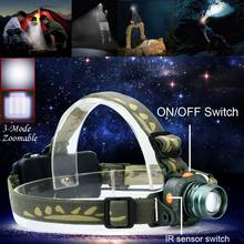 AAA CREE LED Flashlight 2000LM Motion Sensing Zoomable Headlamp Headlight Torch Infrared Sensors Head Lamp 18650 Battery(China)