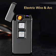 Usb Charge Tesla Coil &Arc Lighter USB Windproof Personality Electronic Cigarette Lighters Novelty Electric Cigarette Lighter(China)