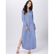 Ruiyige Spring Autumn Women Jeans Long Dress Polo Collar Full Sleeve Side Split Maxi Casual Vestdos Denim Shirt Dress Plus Size