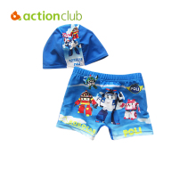 Actionclub Summer POLI ROBOCAR Children Boys Swim Trunk 2016 Baby Kids Swimsuits Beach Swimming Clothes With Swimming Hat SA101
