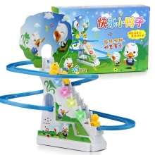Ducks climb stairs track toys,Children's classic track toys, climb stairs electric music track toys Children Assembled Toy