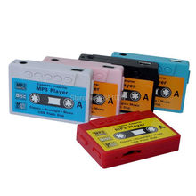 wholesale 500pcs new Mini Cassette Tape Shape MP3 Music Player, Support microSD(TF) Card with earphone and charger cable