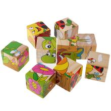 9 Pieces 6 Sided Cartoon Insects Animal Cubes Wooden 3D Jigsaw Puzzles Toy