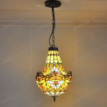American Crystal factory outlets Tiffany glass chandelier lighting color creative retro antique shop cafe bar staircase lighting(China)