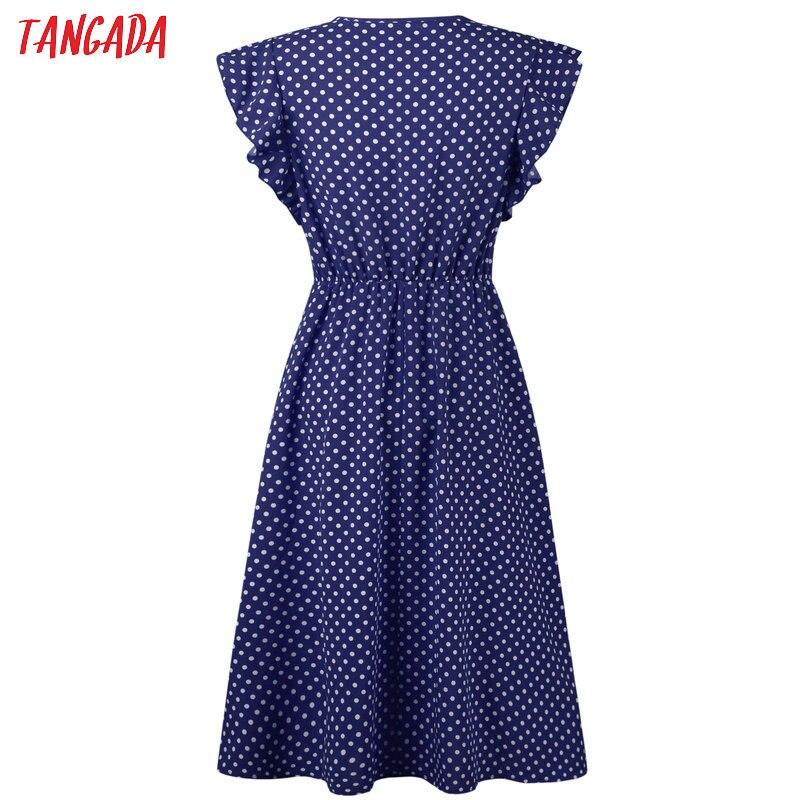 HTB1iGVuD3aTBuNjSszfq6xgfpXas - Tangada polka dot dress for women office midi dress 80s 2018 vintage cute A-line dress red blue ruffle sleeve vestidos AON08