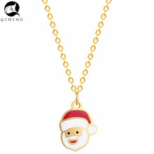 QIMING Winter Santa Claus Father Christmas Necklace For Women Silver Charm Party Gift Best Friend Necklace Chokers Jewelry