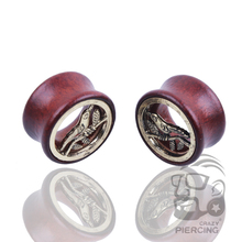 Ear plugs tunnels wood body jewelry piercing surgical steel bird Olive branch plug 8-20mm free shipping