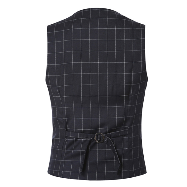 Mens Casual Plaid Vest Gentleman Business V-neck Collar Slim Fit Suit Waistcoat