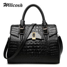 Wilicosh 2017 New women leather handbags with Lock crocodile design women's Shoulder Messenger Crossbody Bag bolsos mujer WL330