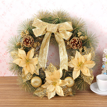 Christmas Supplies 40cm Wreath Artificial Christmas Wreath With Warm Bowknot Holiday Decorations Party Outdoor Tree Ornaments(China)