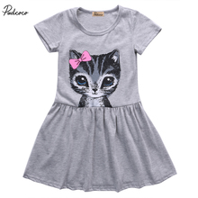 2017 Cute Cat Lovely Toddler Baby Girls Princess Short Sleeve Dress Party Kids Tulle Tutu Dress Gray Pink