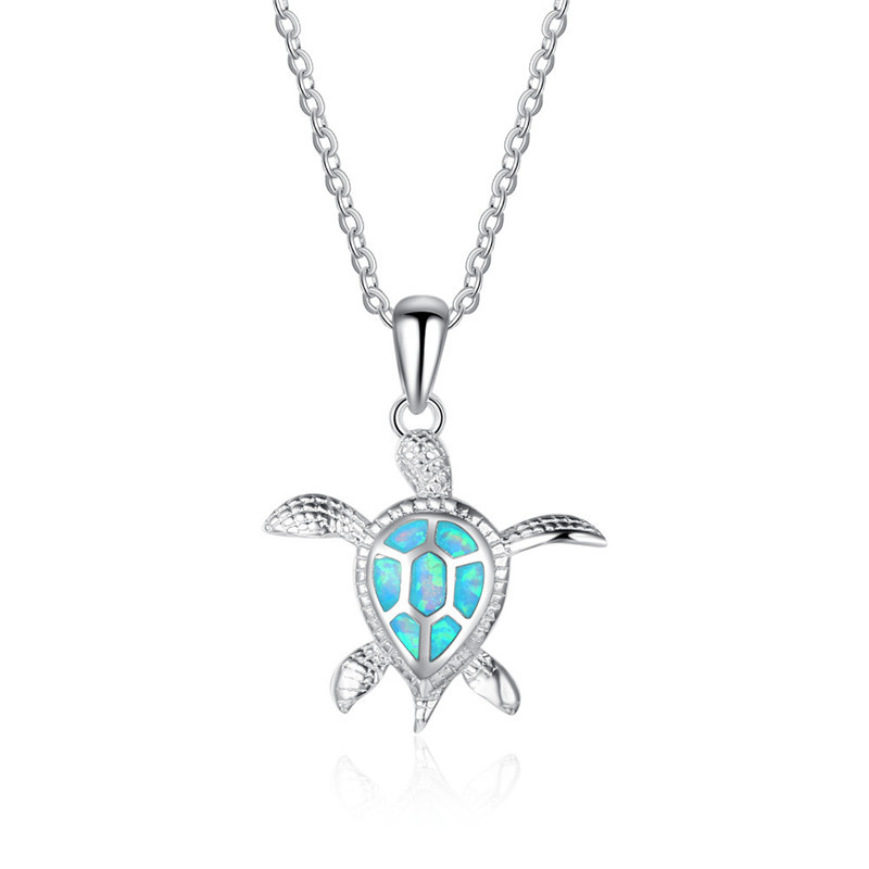 Fashion Silver Filled Blue Imitati Opal Sea Turtle Pendant Necklace for Women Female Animal Wedding Ocean Beach Jewelry Gift 9
