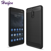 Slim Hybrid Super rugged armor cover For Nokia 6 case Carbon Fiber Texture Brushed Silicone caus for Nokia 6 phone case ( L92)(China)