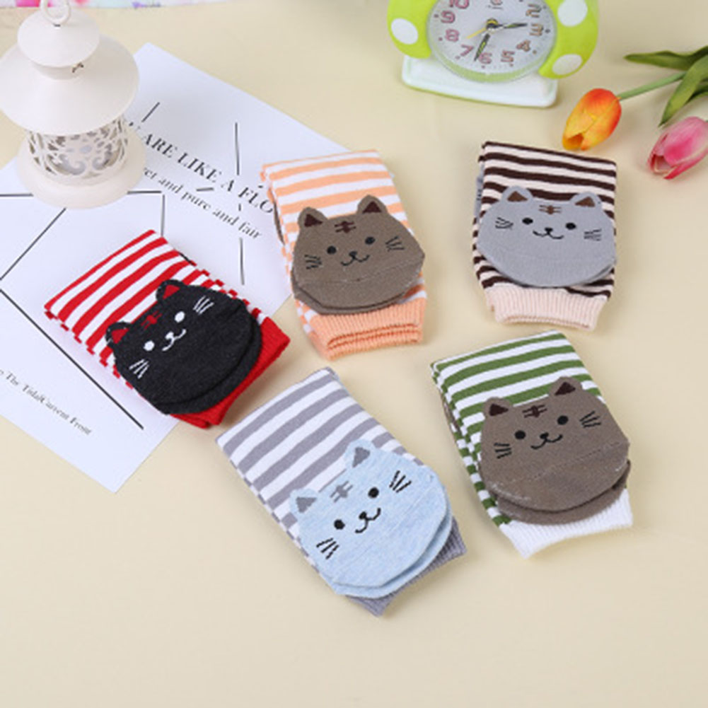 1 Pair Women Cute Cartoon Socks 3D Cat Prints Striped Warm Cotton Floor Socks Women