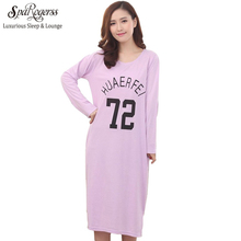 Female Long Nightgown Cotton Spring Autumn Women Home Clothing Sleep Lounge Sleepwear Lady Nightshirt Girl Fashion Leisure CU008(China)