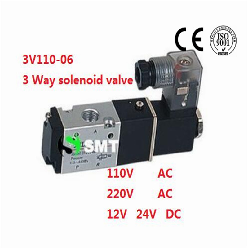 5 PCS Wire Type 1/8  Solenoid Valve 3 Way Pneumatic Air Solenoid Control Valve Alumium Body 3V110-06 Voltage Optional<br><br>Aliexpress