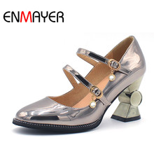 ENMAYER High Heels Square Toe Lace-Up Spring&Autumn Pink Gold&Silver Party Shoes Classic Basic Cross Tied Polished Cute Shoes(China)