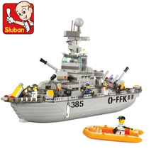 Sluban Model Toy Compatible with Lego B0126 577pcs Military Cruiser Sea Model Building Kits Toys Hobbies Building Model Blocks(China)