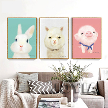Nordic Art Wall Pictures Cute Animal Canvas Prints Kids Baby Bedroom Decor Cartoon Lovely piggy Alpaca Rabbit Posters No Frame(China)