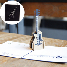 2017 Pop Up Music Guitar 3D Greeting Card Christmas Valentine Birthday Invitation apr14_35(China)