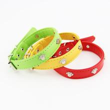 New Design Dog Necklace Leather Small Dog Collars With Paw Stud Pet Products Puppy Cat Buckle Neck Fashion 3 Colors 3 Size S M L