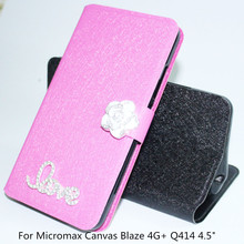 "For Micromax Canvas Blaze 4G+ Q414 4.5"" Case Fashion Book Flip PU Leather Cell Phone Cover For Micromax Q414 Stand phone case(China)"