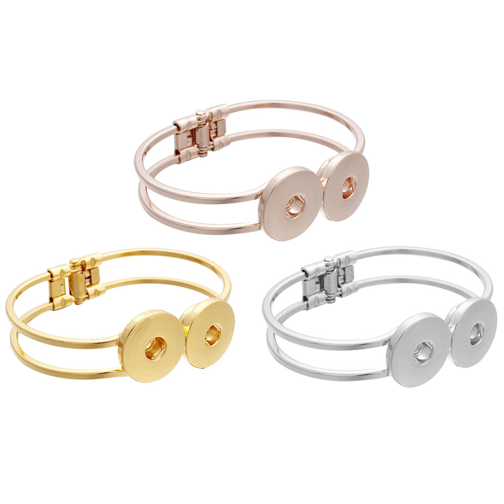 Hot Sale Snap Button Bracelet Rose Gold Bangles Fit 18mm Snap Jewelry 2 Button Charms Silver Gold Snap Bracelet Women