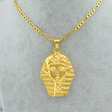 Anniyo Egyptian King Necklace,Gold Color Hip-hop Jewelry Cleopatra Egypt Pharaohs Face Styles Hip Hop Rapper Chain