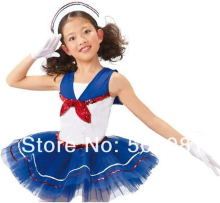 Children navy blue dress Girls Fashion color dresses New kids 100% cotton polo dresses Cosplay Navy Dress