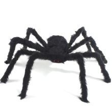 Black Spider Tricky Toy Imitated Stuffed Toys Haunted House Props Halloween Decoration Black Spider with Red Eyes FL(China)