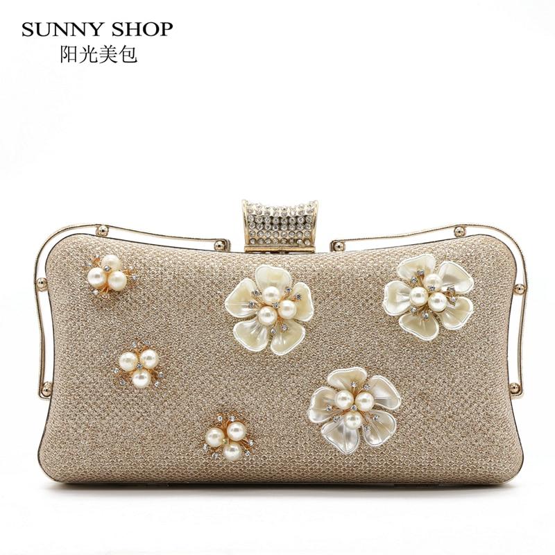SUNNY SHOP 2017 New Evening Cutch Bags Flower Beading Design Women Evening Bag  Wedding Bridal Clutches <br><br>Aliexpress