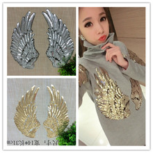 31*14 CM 1 Pair Angel Feather Sequins Patches For Clothing Iron On Patches parches bordados Embroidered Applique DIY Accessory