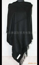 Soild color Black Fashion Women's Plain Artificial Cashmere Blend Shaw Scarf Wrap embroidery  SW0016
