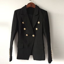 TOP QUALITY New Fashion 2017 Designer Blazer Jacket Women's Double Breasted Metal Lion Buttons Blazer Outer size S-XXL(China)